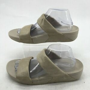 FitFlop Women 11 Shimmy Casual Slides Wedge Sandals Beige Suede Open Toe H68-308