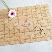 Personalised Wooden Wedding Jigsaw Puzzle Piece Guestbook - Oak Beech Guest Book