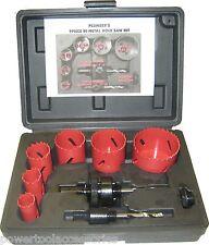 9pc MTL Bi-metal Holesaw Kit hole cutter set for Plumbers: 19/22/29/38/44 & 57mm