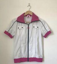 Zumba Women Jacket Size Small Pink White Short Sleeve Zip Active Wear