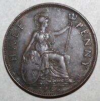 British Half Penny Coin, 1926 - KM# 824 - Great Britain King George V UK 1/2