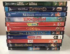 Disney Lot 11 DVD MOVIES FOX HOUND LITTLE MERMAID LION KING BOLT BEAUTY BEAST