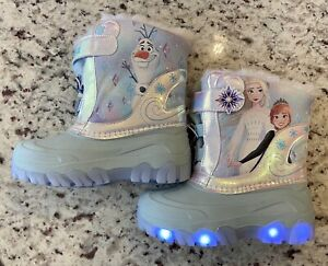 Toddler Girls' Disney Frozen II Light Up Winter Boots Blue - CHOOSE SIZE