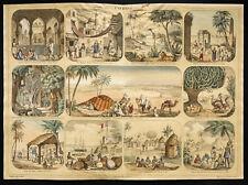Rare 1853ca - L'Afrique (Esclavage) - Planche encyclopédique, scolaire