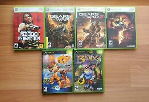 Xbox 360 Game Lot - Gears of War - Blinx the Cat - Red Dead - Resident Evil