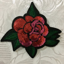 1pc red Rose w/leaves Sequin Patch flower applique iron sew on craft  #707