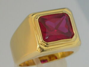 11X9 mm July Red Ruby Color CZ Birthstone Men's Solitaire Jewelry Ring Size 7-15
