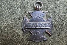 Edwardian Silver School Medal / Fob -  St John's School Ealing -  London - 1904
