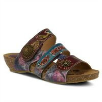 SPRING STEP L'ARTISTE JAMILA HAND PAINTED LEATHER SLIDE SANDAL
