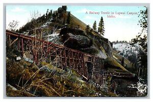 Lapwai Canyon, ID Idaho Railway Trestle Railroad Train Tracks Postcard Unposted