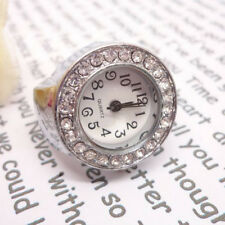 Women Round Case Shiny Rhinestone Alloy Quartz Finger Stretch Ring Watch Charm