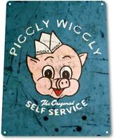 Piggly Wiggly Self Service Auto Shop Garage Mechanic Rustic Metal Decor Sign