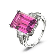 Beautiful Classic Pink Gemstone Silver Jewelry Temperament Ring Size 7