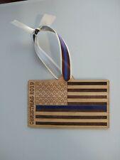 Thin Blue Line Hardwood Xmas Christmas Ornament Law Enforcement Police...