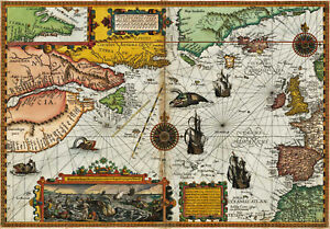 1594 Map of the Arctic Voyages In Search of the Northwest Passage Wall Poster