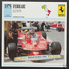 1975 FERRARI 312 T4/T5 Gilles Villeneuve Race Car Photo Spec Sheet French Card