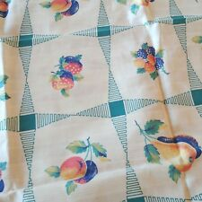 """Vintage Craft Cotton Fabric Plums, Cherries, Pears Turquoise on White 36"""" x 36"""""""