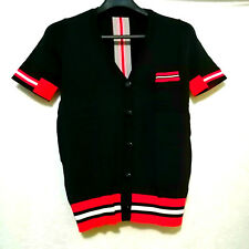Black Vneck Collar Shirt With Red Trim