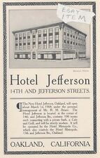 1908 OAKLAND CALIFORNIA HOTEL JEFFERSON AD STEWART PHOTO Advertisement