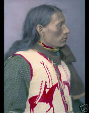 """CHARGES TWICE NATIVE AMERICAN BRULE INDIAN 1904 8x10"""" HAND COLOR TINTED PHOTO"""