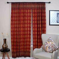 Cotton Kensington Hand Block Print Curtain Drape Floral Door Panel 46x88