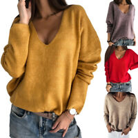 Womens Long Sleeve V Neck Knit Baggy Sweater Pullover Ladies Casual Jumper Tops~