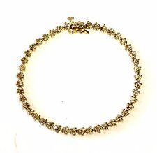 "14k yellow gold 2ct diamond 7 3/4"" tennis bracelet 14g vintage estate antique"