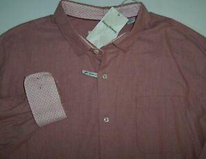 NWT Tommy Bahama Baked Apple Pink HEATHER BAY HERRINGBONE Shirt 3XLB 3XB Stretch