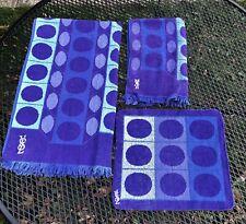 Vtg YSL Fieldcrest 3 TOWELS Bath Hand Washcloth Purple Blue Circle Geometric MCM