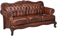Chesterfield Tufted Modern Lounge Leather Sofa Couch Mid Century - Antique Look