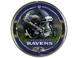 Baltimore Ravens 12 Inch CHROME Clock by Wincraft -Perfect for Man Cave,Office