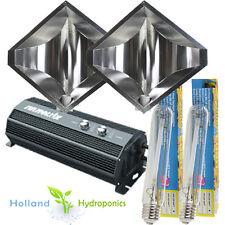 2x 600w Dual Grow Light Digital Ballast Hydroponics Diamond Shade Reflectors Kit