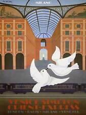 Milán, Italia Orient Express Venecia Paloma Londres Ferrocarril Cartel Retro 2434PY