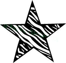 Zebra striped star w/outline vinyl decal/sticker window laptop animal print