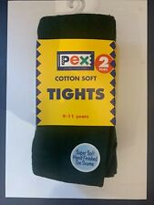 School Tights Bottle Green 2 Pair Pack Cotton Soft Ages 3-15