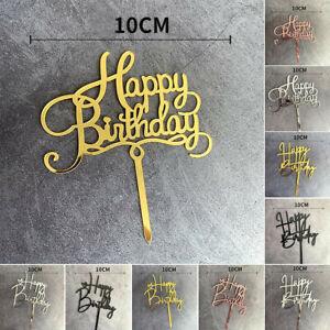 Love Heart Happy Birthday Acrylic Cake Topper Card For Birthday Party DIY Decor