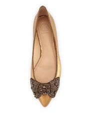 Tory Burch Vanessa Crystal-Zapato Plano Bailarina Plana de arco 39.5 UK 6.5 EE. UU. 9.5