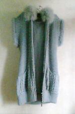 076 Korean Women's Fashion Pocket Sleeveless Knit Sweater Coat Top Gray