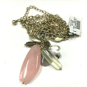 New CHICO'S Aurina Pendant Necklace Pink Grey Clear Stone Glass Satin Gold KK22K