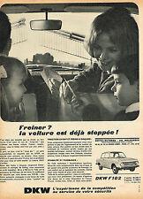 PUBLICITE ADVERTISING 114  1964  DKW  F102   les freins