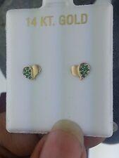 14K Yellow Gold Emerald Heart Love Kids Baby Children's Stud Earring Screw Back
