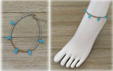 Sky Blue, Matte Gold, Silver Color Beads Anklet Ankle Bracelet Fashion Jewelry