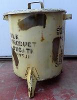 Pattumiera industrial crema militare in metallo trash garbace can cm 44x38x47h