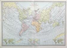 1883 - Large Original Antique Colour WORLD MAP Herschel's Projection (PHA)