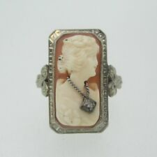 Vintage 14k White Gold Conch Shell Cameo Ring with Diamond Accent Ring Size 8