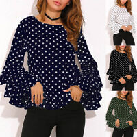 Women Autumn Long Sleeve Loose Blouse Ladies Summer T Shirts Pullover Jumpers US