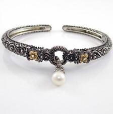 Barbara Bixby Sterling Silver 18K Yellow Gold Pearl Hinged Cuff Bracelet QX