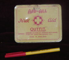 1950s FIRST AID KIT / OUTFIT by AID-ALL MADE IN ENGLAND in Pocket-Size TIN