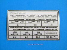 FERRARI EXHAUST EMMISIONS STANDARDS HEALTH & SAFETY CODE DECAL STICKER Year 1978
