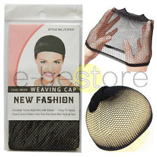 3 x Wig Cap Mesh Weaving Breathable Stretchable Stocking Hair Liner Unisex Black